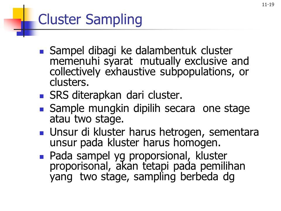 Cluster Sampling Sampel dibagi ke dalambentuk cluster memenuhi syarat mutually exclusive and collectively exhaustive subpopulations, or clusters.