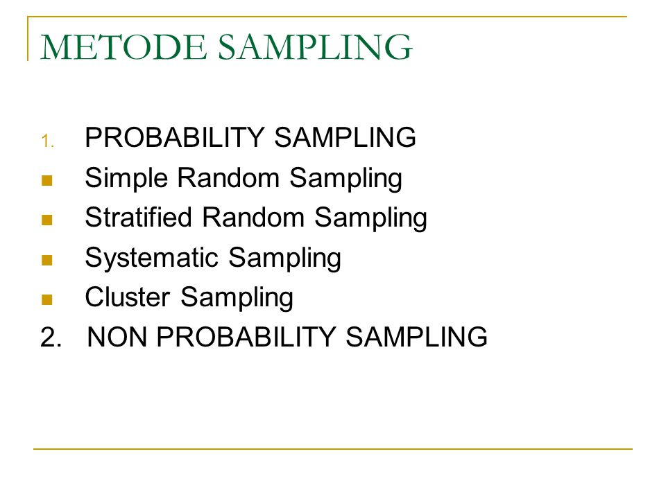 METODE SAMPLING PROBABILITY SAMPLING Simple Random Sampling