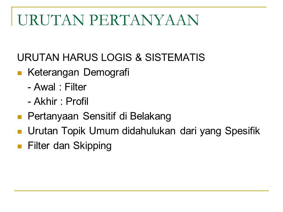 URUTAN PERTANYAAN URUTAN HARUS LOGIS & SISTEMATIS Keterangan Demografi