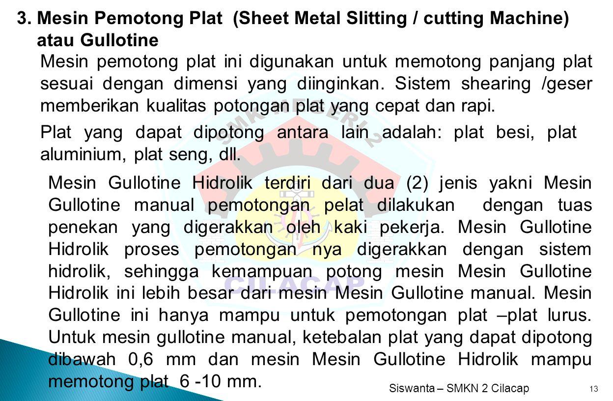 3. Mesin Pemotong Plat (Sheet Metal Slitting / cutting Machine)