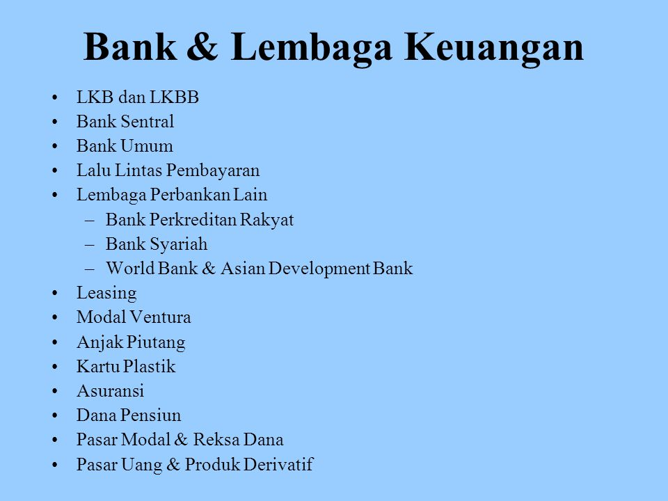 Bank & Lembaga Keuangan