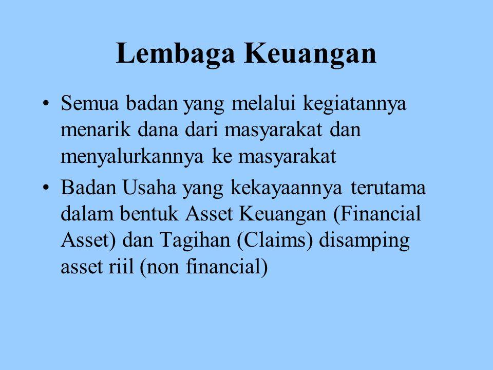 Lembaga Keuangan Semua badan yang melalui kegiatannya menarik dana dari masyarakat dan menyalurkannya ke masyarakat.