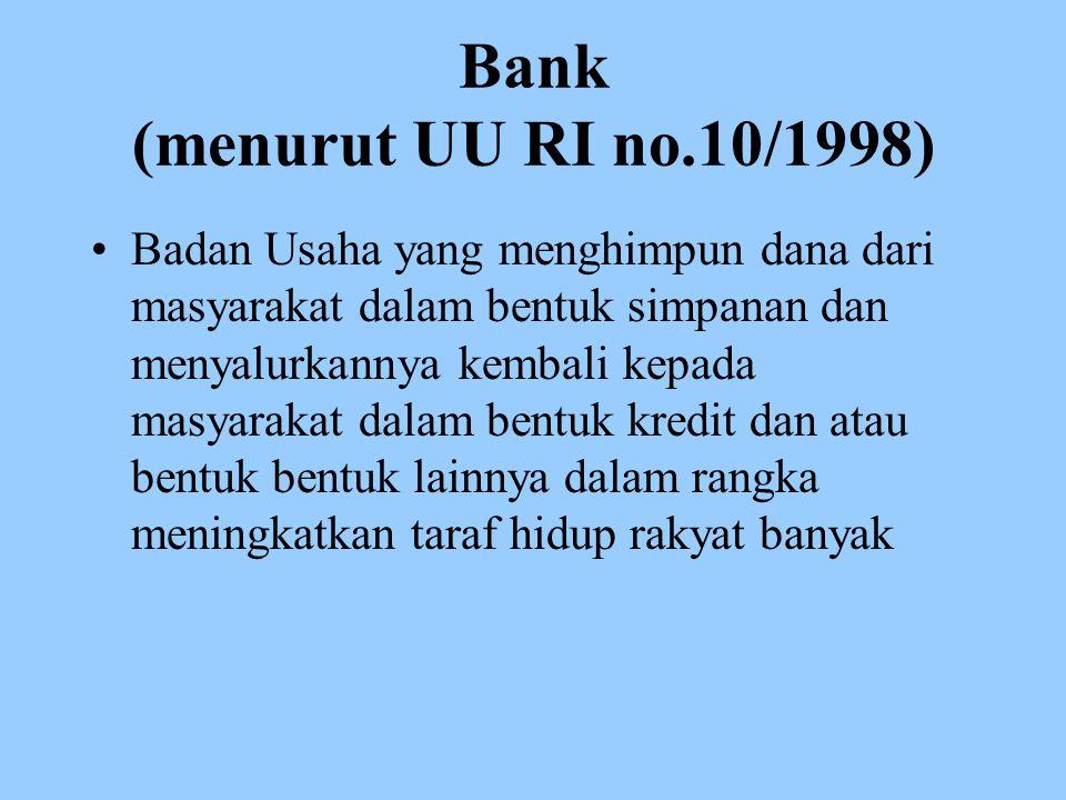 Bank (menurut UU RI no.10/1998)