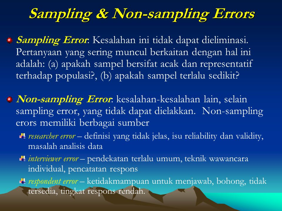 Sampling & Non-sampling Errors