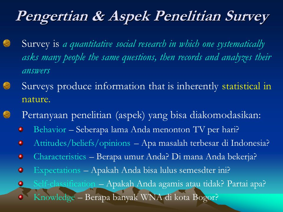 Pengertian & Aspek Penelitian Survey