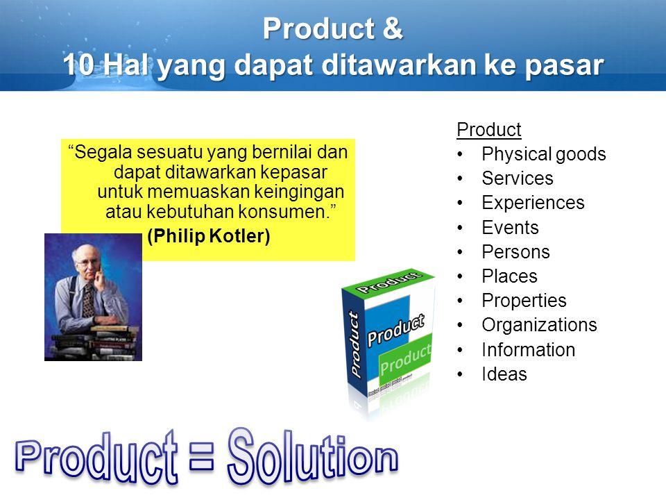 Product & 10 Hal yang dapat ditawarkan ke pasar