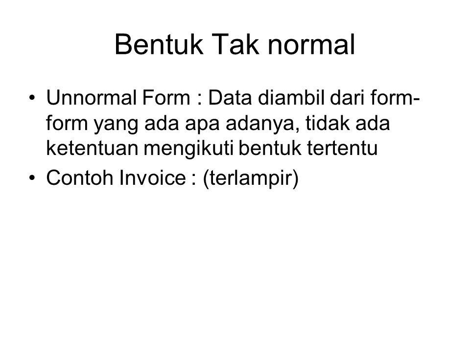 Bentuk Tak normal Unnormal Form : Data diambil dari form-form yang ada apa adanya, tidak ada ketentuan mengikuti bentuk tertentu.