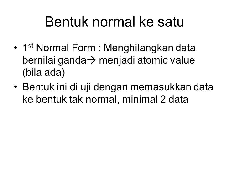 Bentuk normal ke satu 1st Normal Form : Menghilangkan data bernilai ganda menjadi atomic value (bila ada)