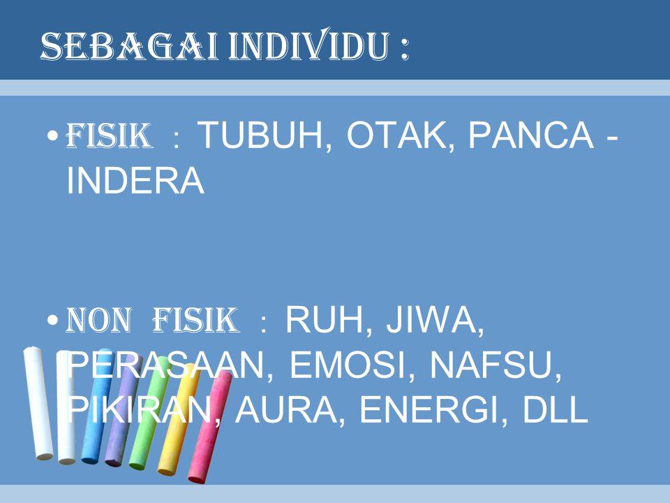 SEBAGAI INDIVIDU : FISIK : TUBUH, OTAK, PANCA - INDERA