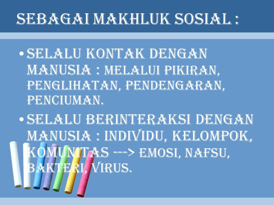 SEBAGAI MAKHLUK SOSIAL :