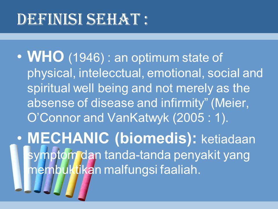 DEFINISI SEHAT :