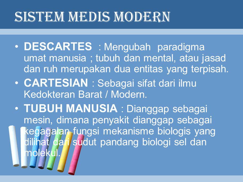 SISTEM MEDIS MODERN DESCARTES : Mengubah paradigma umat manusia ; tubuh dan mental, atau jasad dan ruh merupakan dua entitas yang terpisah.