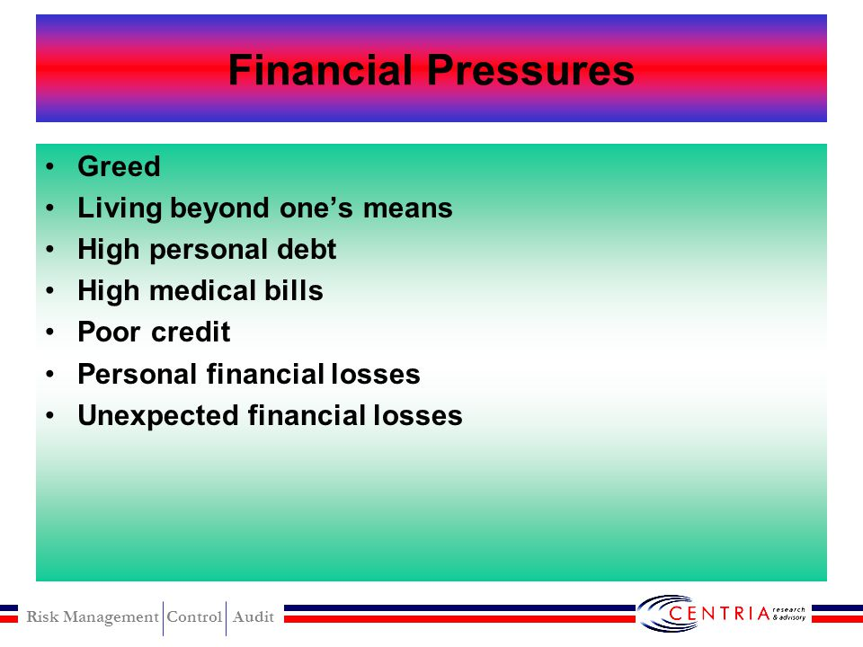 Financial Pressures Greed Living beyond one's means High personal debt