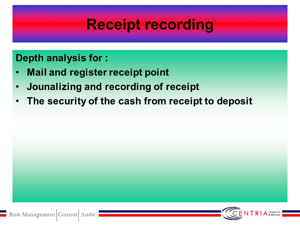 Receipt recording Depth analysis for : Mail and register receipt point