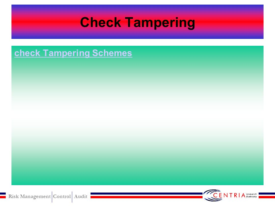 Check Tampering check Tampering Schemes
