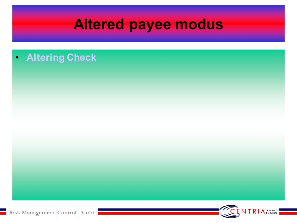 Altered payee modus Altering Check