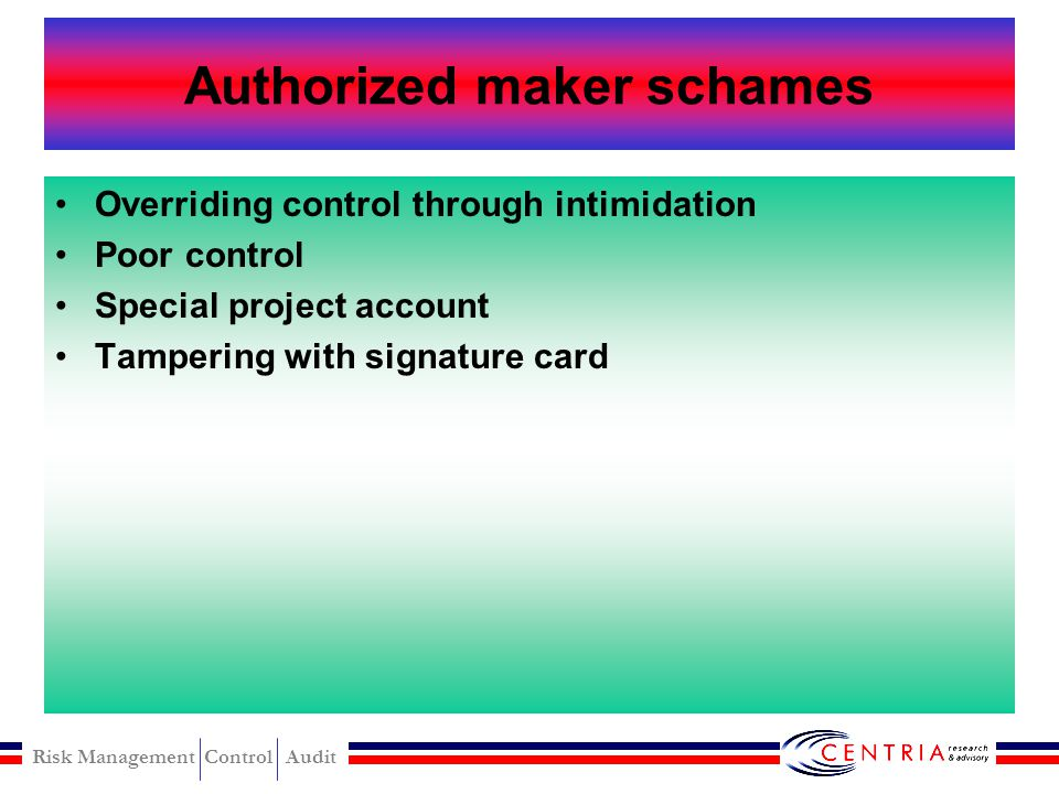 Authorized maker schames