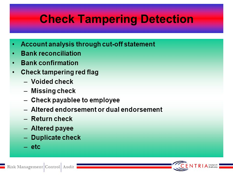 Check Tampering Detection