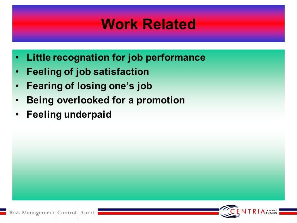 Work Related Little recognation for job performance