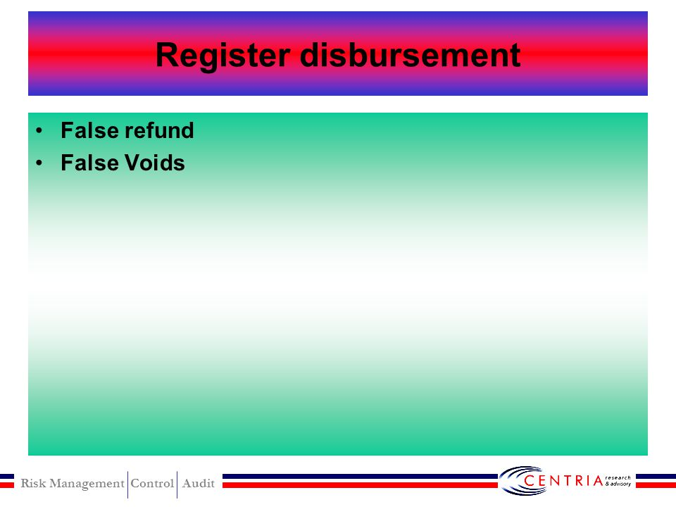 Register disbursement