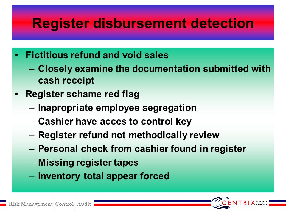 Register disbursement detection