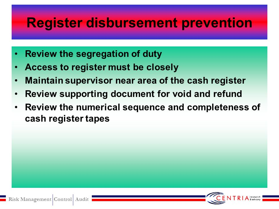 Register disbursement prevention