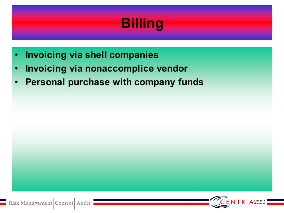 Billing Invoicing via shell companies