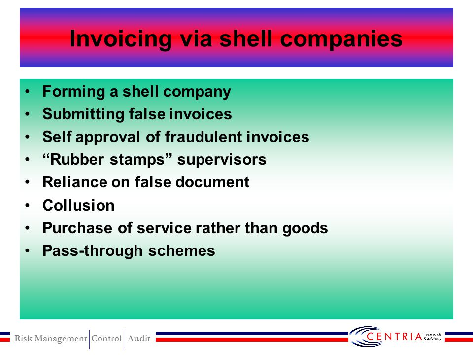 Invoicing via shell companies