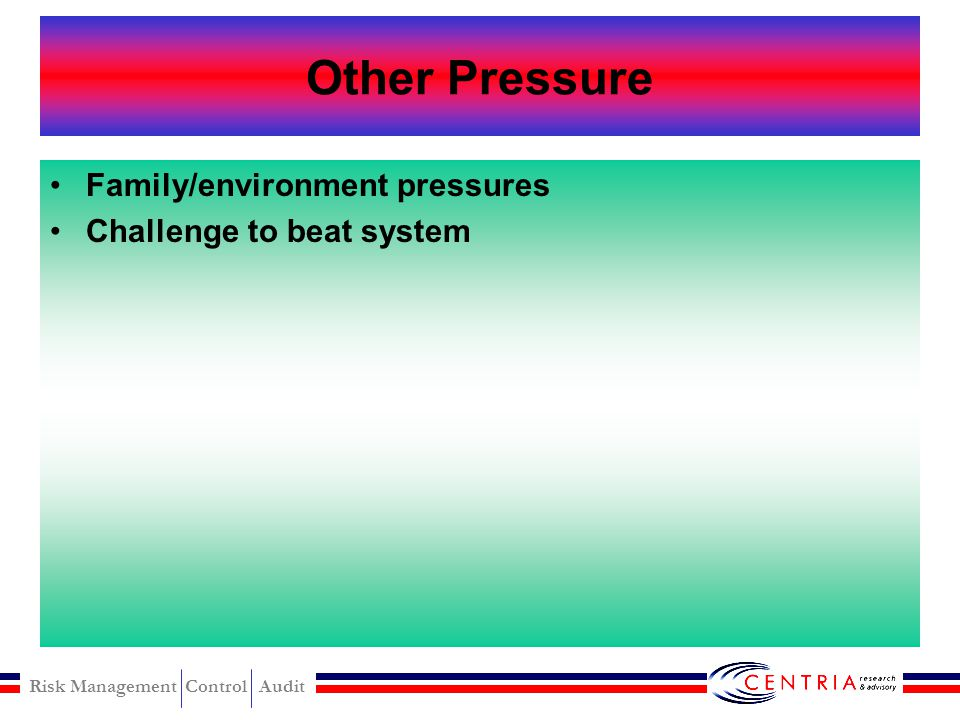 Other Pressure Family/environment pressures Challenge to beat system