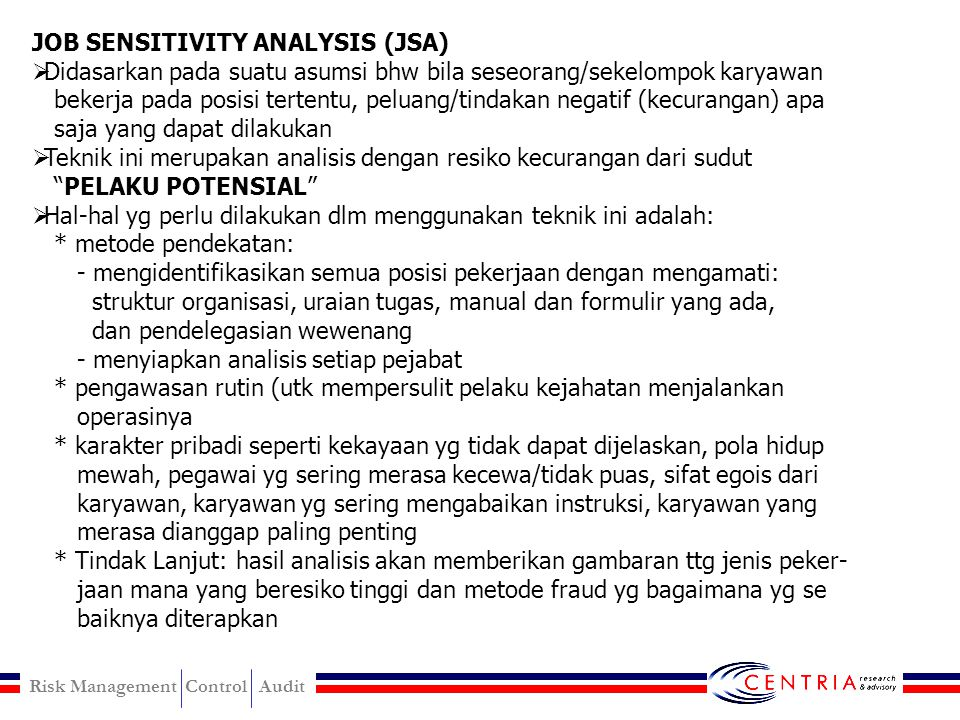 JOB SENSITIVITY ANALYSIS (JSA)