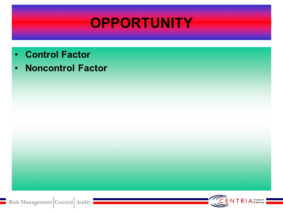 OPPORTUNITY Control Factor Noncontrol Factor