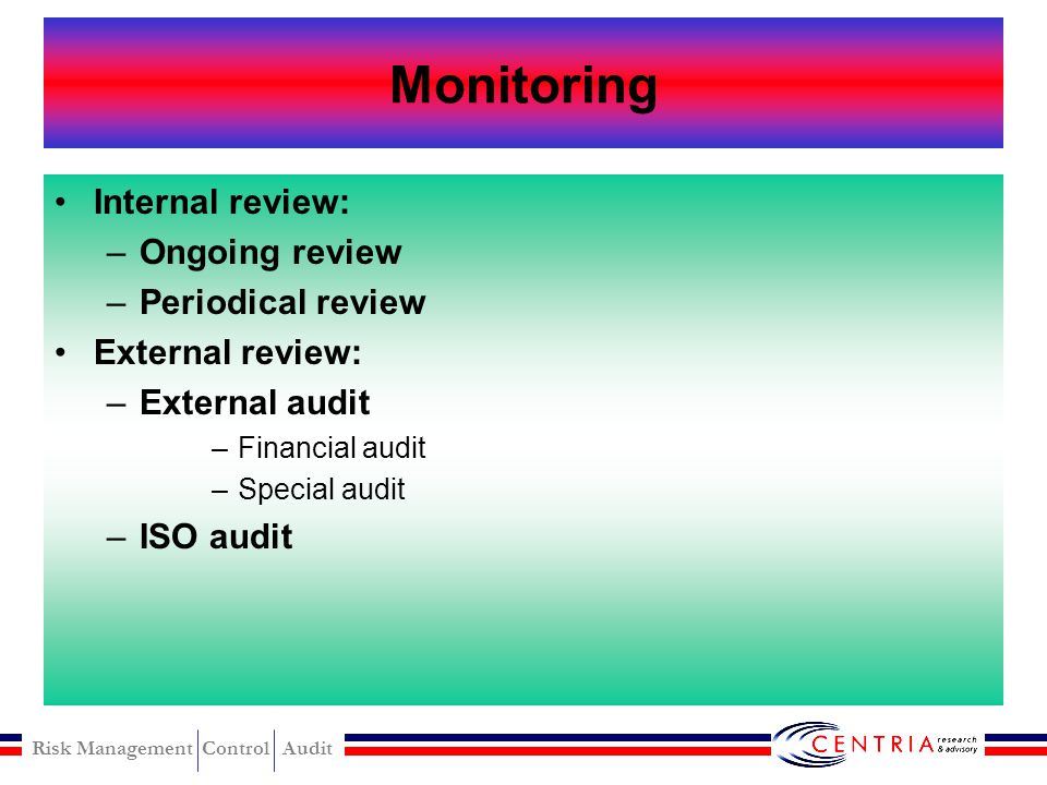 Monitoring Internal review: Ongoing review Periodical review