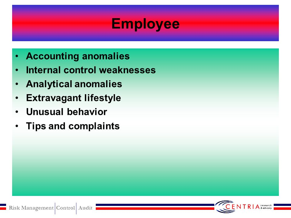 Employee Accounting anomalies Internal control weaknesses