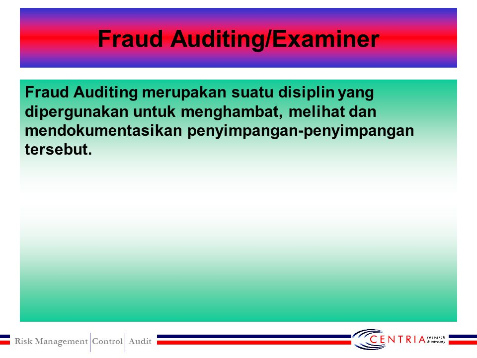 Fraud Auditing/Examiner