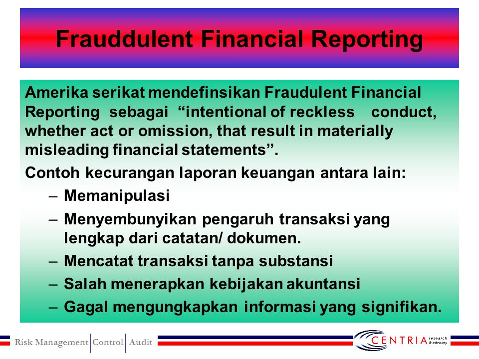Frauddulent Financial Reporting