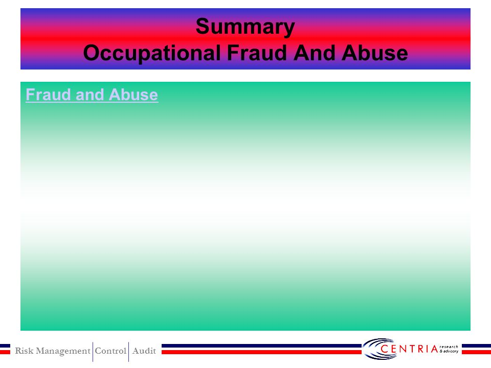 Summary Occupational Fraud And Abuse