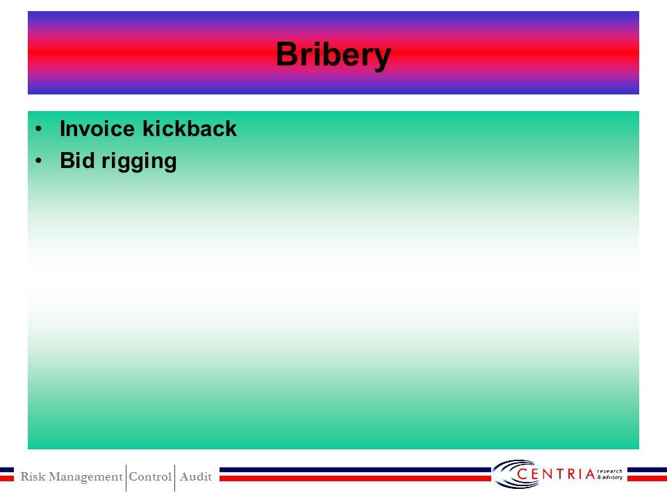 Bribery Invoice kickback Bid rigging