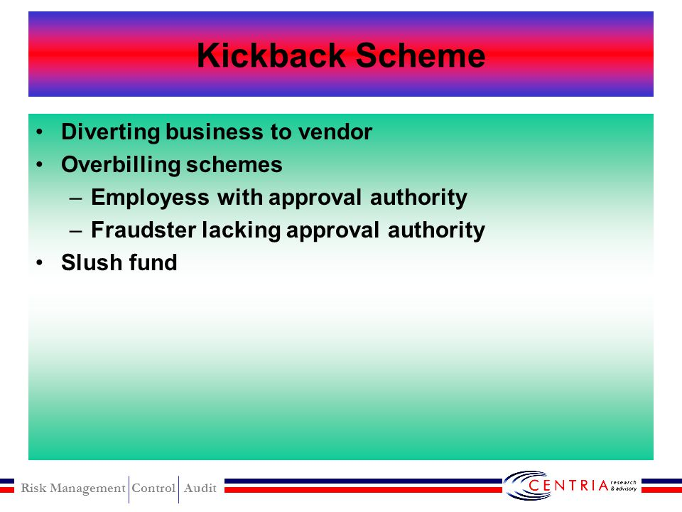 Kickback Scheme Diverting business to vendor Overbilling schemes
