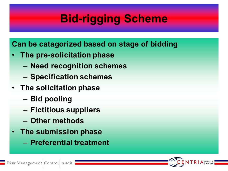 Bid-rigging Scheme Can be catagorized based on stage of bidding