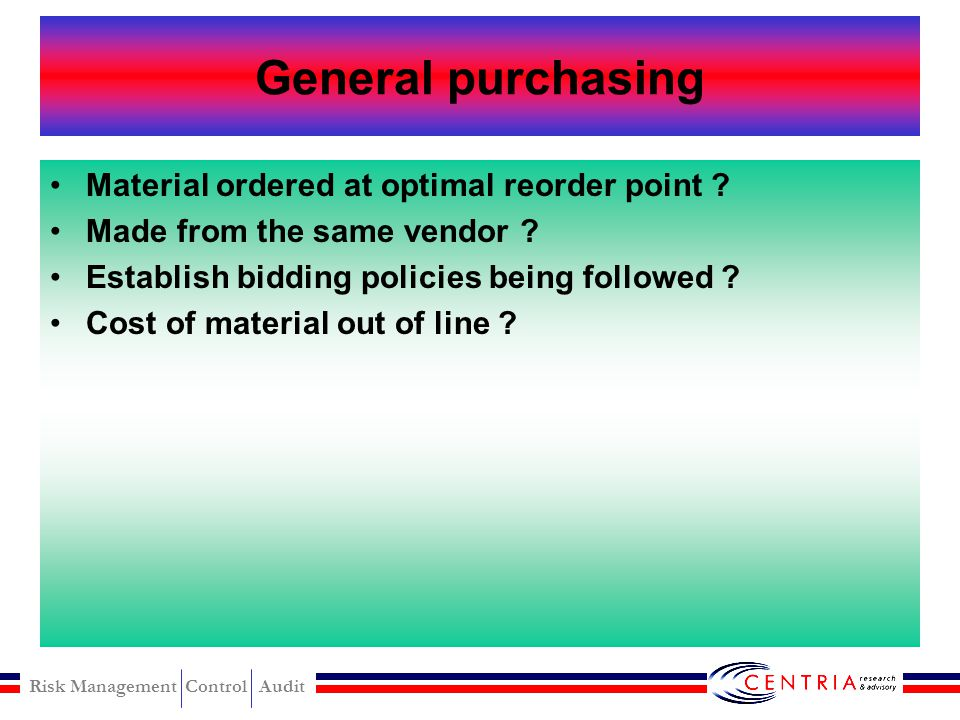 General purchasing Material ordered at optimal reorder point