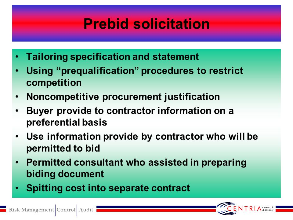 Prebid solicitation Tailoring specification and statement