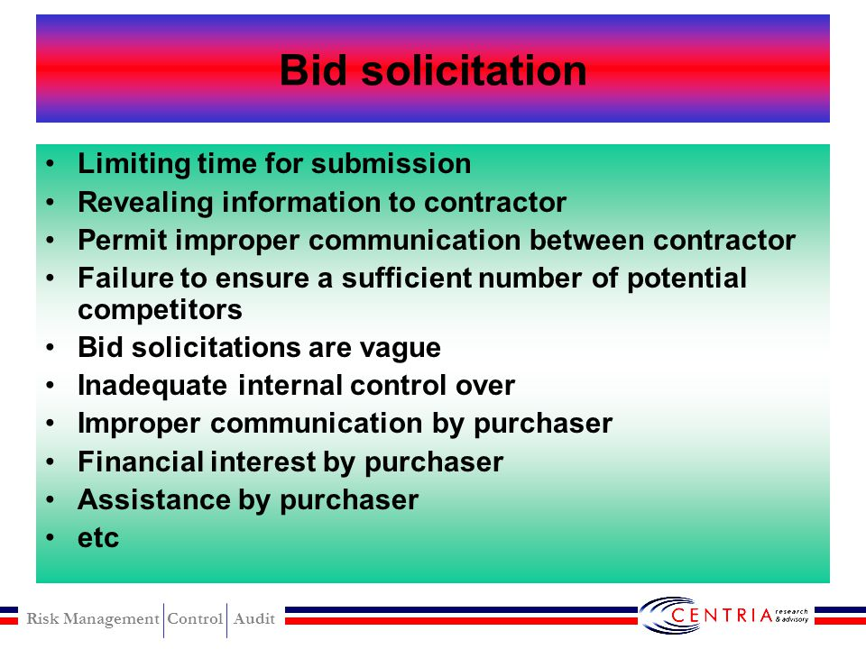 Bid solicitation Limiting time for submission