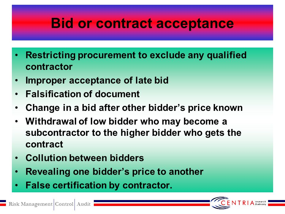 Bid or contract acceptance