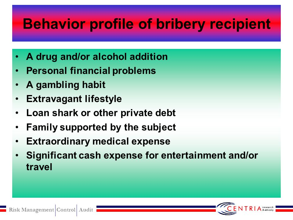 Behavior profile of bribery recipient