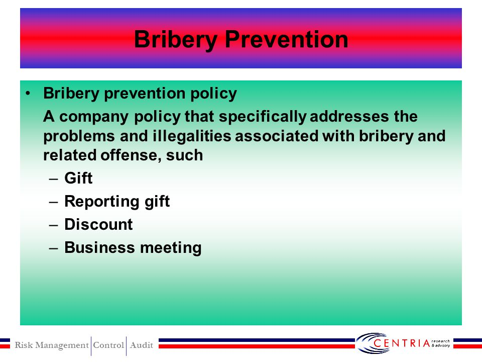 Bribery Prevention Bribery prevention policy