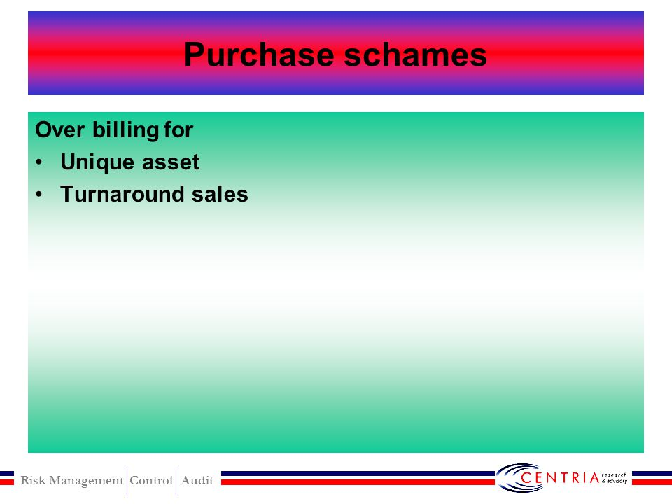 Purchase schames Over billing for Unique asset Turnaround sales