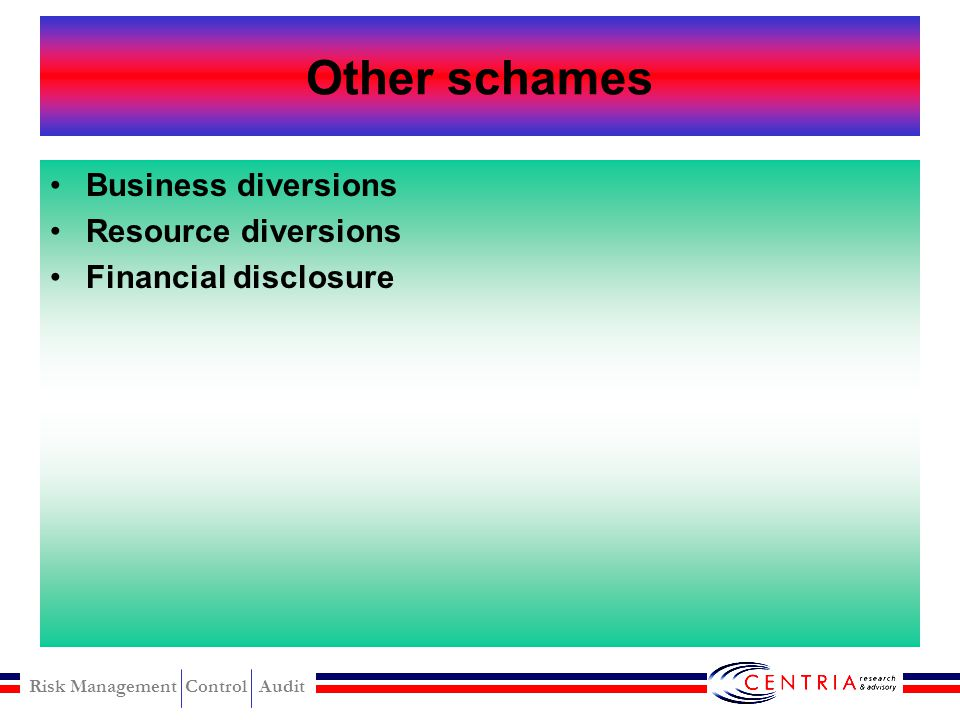 Other schames Business diversions Resource diversions