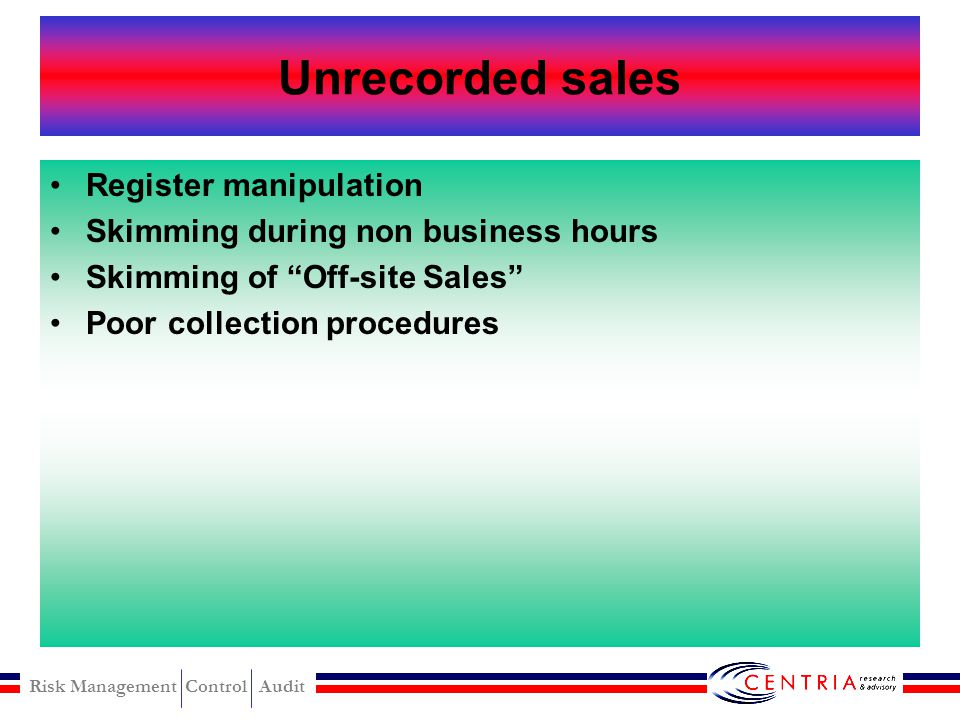Unrecorded sales Register manipulation