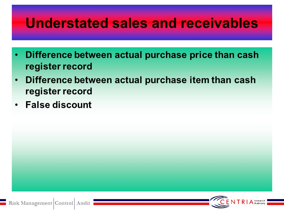 Understated sales and receivables