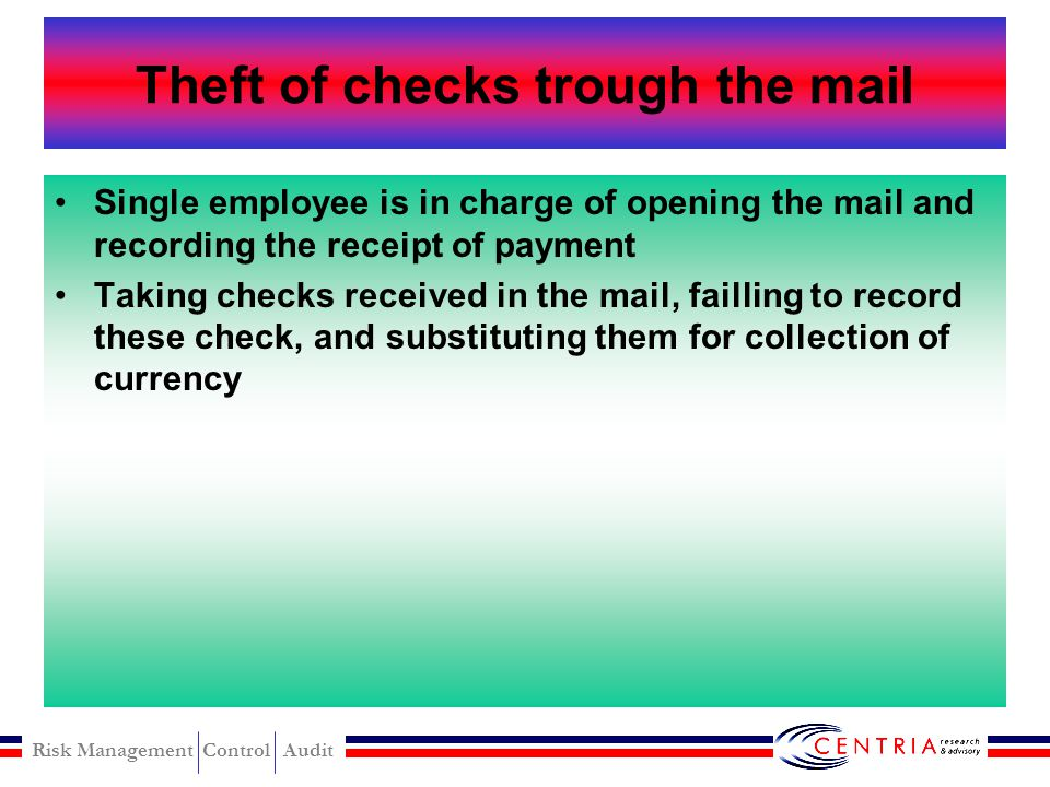 Theft of checks trough the mail